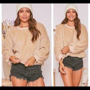 Beautiful Beige Cropped Sherpa Sweater